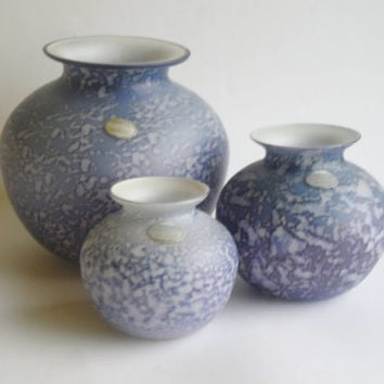 Set of 3 Royal Brierley Studio Vases, Lilac Gray Art Glass, designed by Michael & Tim Harris, England