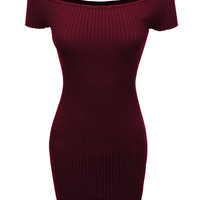 LE3NO Womens Stretchy Ribbed Off Shoulder Bodycon Mini Dress (CLEARANCE)
