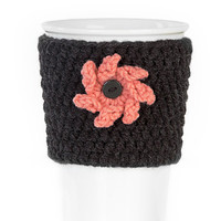 Crochet cup cozy, coffee cup cozy, mug cozy, cup cozy,coffee cup sleeve, anthracite, coral, 3D flower, Valentine's day gift