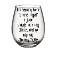 Rugrats Inspired Wine Glass, Tommy Pickles,  Cute Wine Glass, Funny Wine Glass, 90s Nostalgia