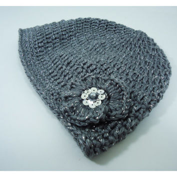 Crochet hat, woman hat, head accessories with a flower or bow - Adult model - Gift or other occasion