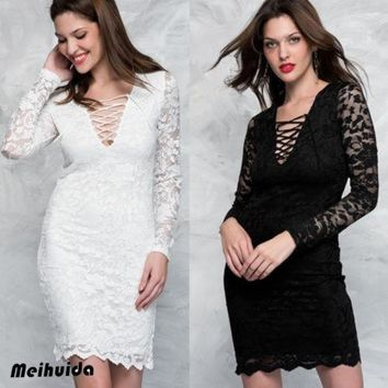 Women Lace Slim Fit Bodycon Dress Floral Party Knee-Length Dress Women Solid Long Sleeve Lace Patchwork Bandage Dresses Clothing