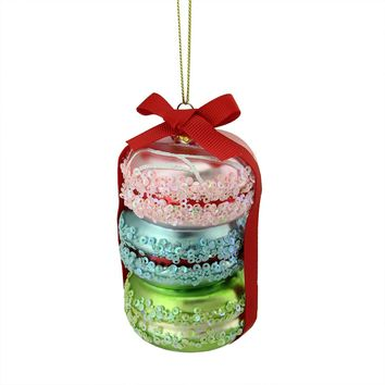 "4.5"" Pink Blue and Green Glass Macaroons with Ribbon Christmas Ornament"