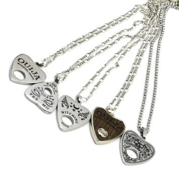 """1Pc Stainless Steel Ouija Heart Pendant Necklace with 24"""" Chain Board Planchette Punk Choker Fashion Necklace Body Jewelry"""