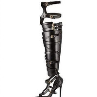 Yellow Leather Strap Gladiator Boots