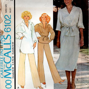 McCall's 6102 Sewing Pattern 70s Boho Hippie Style Pullover Tunic Romantic Poet Blouse Shirt Top Wide Leg Pants Flared Skirt Uncut Bust 36
