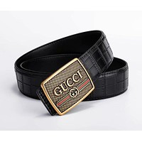 GUCCI Newest Trending Men Smooth Buckle Leather Belt