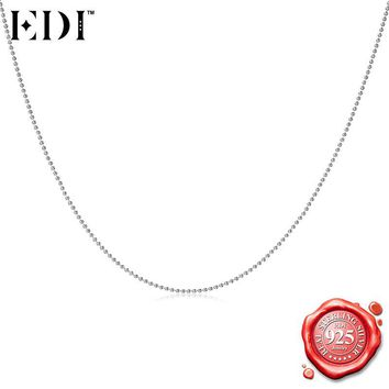 EDI Italy Ball Bead Chain Silver Necklace Perfect for Charms & Pendants 100 % 925 Sterling Silver Necklace for Women/Men