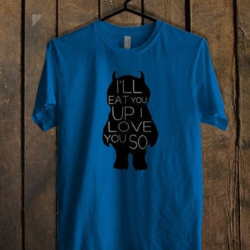 Cute Where the Wild Things Are Inspired Blue Mens T Shirt **