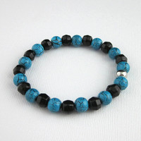 Turquoise And Black Crackle Glass Bracelet, Turquoise And Black Stretch Bracelet, Deep Turquoise And Black Bracelet, Beaded Stretch Bracelet