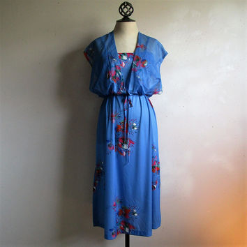 Vintage 70s Floral Dress Blue Jersey Knit 2pc Dress Chiffon Shrug 1970s Disco Dress
