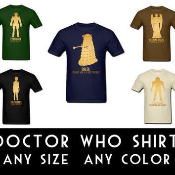 Doctor Who Shirt Men Unisex Science Fiction Short Sleeve Cotton T-Shirt Geek Nerd Dalek Sontaran Cybermen Weeping Angel Silence S M L XL XXL