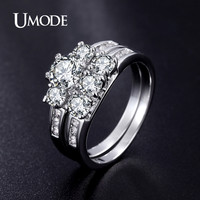 UMODE Fashion Three Cubic Zirconia Stones Finger Rings Bridal Wedding Band Ring Sets Jewelry For Women Punk Style Anillos UR0344