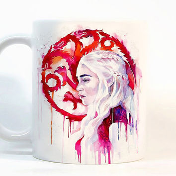 Khaleesi coffee mug Game of Thrones Mug Khaleesi mug Watercolor Mug Coffee Cup Tea Cup Gift for her Gift for him, Printed mug, Ceramic mug
