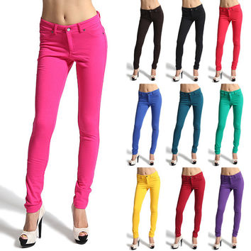 MOGAN Moleton Stretch Color Jeggings Ankle SKINNY JEAN PANTS Zipper Leggings NEW