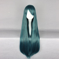 Harajuku 70cm Mix Green Blue Two Tone Heat Friendly Synthetic Costume Cosplay Wig