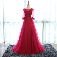 Elegant Wine Colored Appliqued Long Sleeves Prom Dress 2017 Tulle Evening Dress Long Formal Dress abendkleider R014