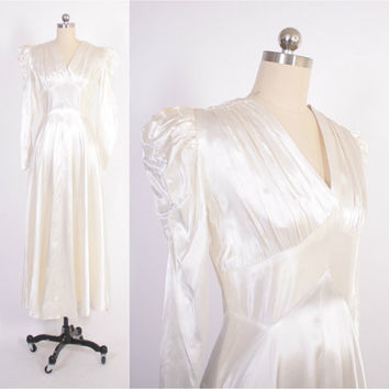 Vintage 40s WEDDING DRESS / 1940s Off-White SATIN Puff Sleeve Bridal Gown S