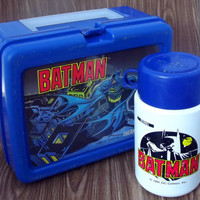 Batman Blue Plastic Lunch Box and Thermos DC Comics 1991