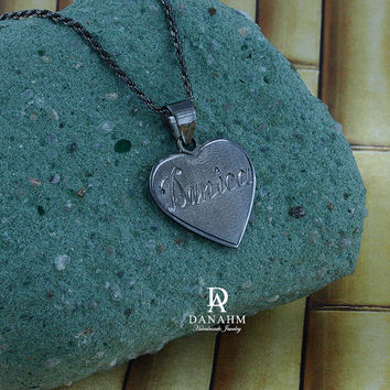 Love Heart Necklace, Sterling Silver, Black Silver Plated, Personalized, Hand Engraved Letters in English & Arabic, NE003D