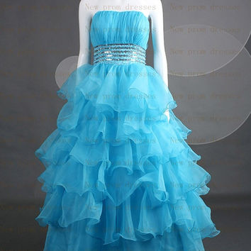 Light blue Tiered organza with silver Sequins beads pleated with lace up back  Prom dress or party dresses