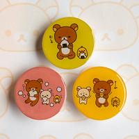 Pack of three Rilakkuma, Korilakkuma and Kiiroitori Brooches |  Kawaii | リラックマ | コリラックマ | キイロイトリ
