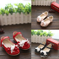 Free Shipping Girls Children Shoes Faux Leather Casual Fashion Flowers Girls Single Princess Flats Shoes Size 26-30 VY0018 salebags