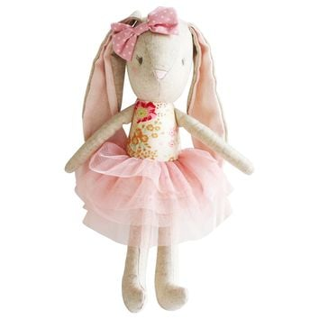 ALIMROSE BUNNY LINEN BABY PEARL TOY BLUSH