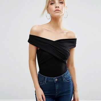 ASOS PETITE Off Shoulder Body With Wrap Front at asos.com