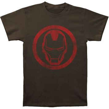 Iron Man Men's  Distressed Icon Slim Fit T-shirt Coal