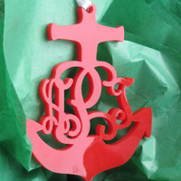 Anchor Vine Christmas Ornament Monogram