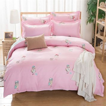 Cheap Price Cute Owl Design Girl Bedding Set Cartoon Style Kids Home Textile Owl Printed Duvet Cover sets Twin Girl