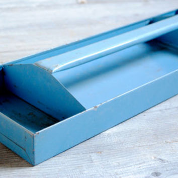 Vintage Blue Metal Tool Tray
