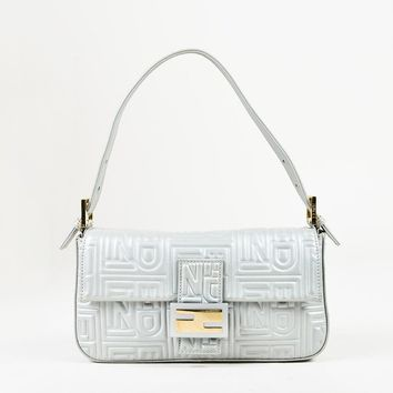 "Fendi Gray Embossed Leather Front Flap ""Baguette"" Shoulder Bag"