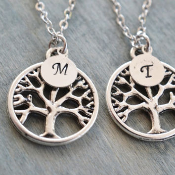 best friend necklace set, personalized friendship gift, mother daughter jewelry, niece gift, family tree necklace, bff gift, bridesmaid gift