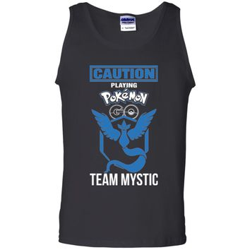 Caution Playing Pokemon Go Team Mystic Tshirt-01 G220 Gildan 100% Cotton Tank Top