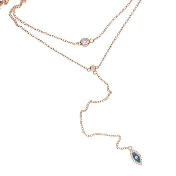 double layer choker Y lariat necklace fashion 925 sterling silver lucky sign symbol women girl gift cz eye delicate lovely style