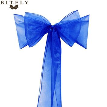 "Free Shipping 50 Pieces royal blue 7""x108""party Chair Cover Sash Bow   Supply  Wedding Decorations more than  2 bags disscount"