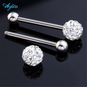 Ayliss 1pcs 14Ga (1.6mm) High Quality 316L Stainless Steel Czech Crystal Labret Lip Tongue Piercing Jewelry