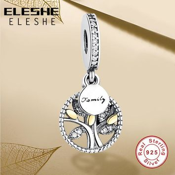 Luxury 925 Sterling Silver FAMILY TREE WITH CUBIC ZIRCONIA Bead Charms Fit Original Pa