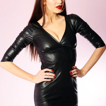 SALE Faux Leather Vida Pinup Dress