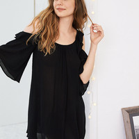 Aerie Cold Shoulder Ruffle Tunic, True Black