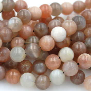 Moonstone Beads Strands, Round, Blue, 8mm -15.5 strand