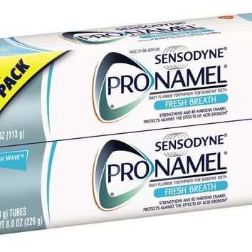 Sensodyne ProNamel Fresh Breath Toothpaste, 2 Pack of 4 Ounce Tubes (8 Ounces Total)