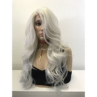 Silver Gray Human Hair Blend Multi Parting Lace Front Wig - Tena