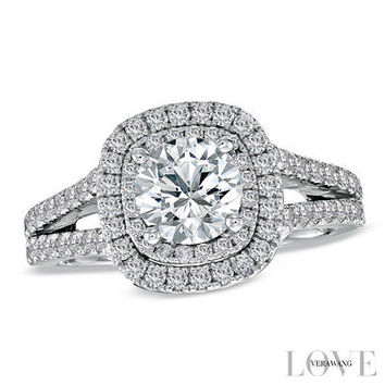 Vera Wang LOVE Collection 2 CT. T.W. Diamond Frame Split Shank Engagement Ring in 14K White Gold - View All Rings - Zales