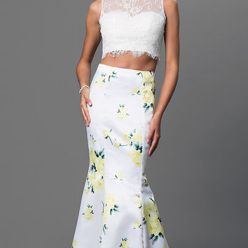 Two Piece Long Dress with Print Skirt