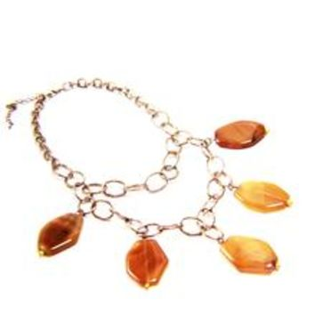 Double Strand Color Agate Natural Stone Chain Necklace