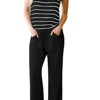 Black Striped Spaghetti Tank Drawstring Jumpsuits