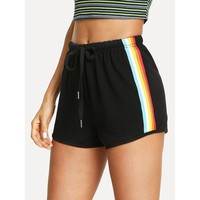 Striped Side Drawstring Shorts